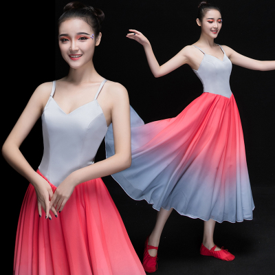 Chinese Folk Dance Costumes Modern dance costume with long skirt stage classical dance costume Chinese style adult women