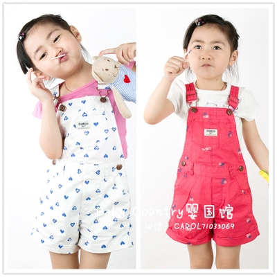 Girls bib shorts 2016 summer new children's wear Europe and the United States casual cotton baby sling shorts