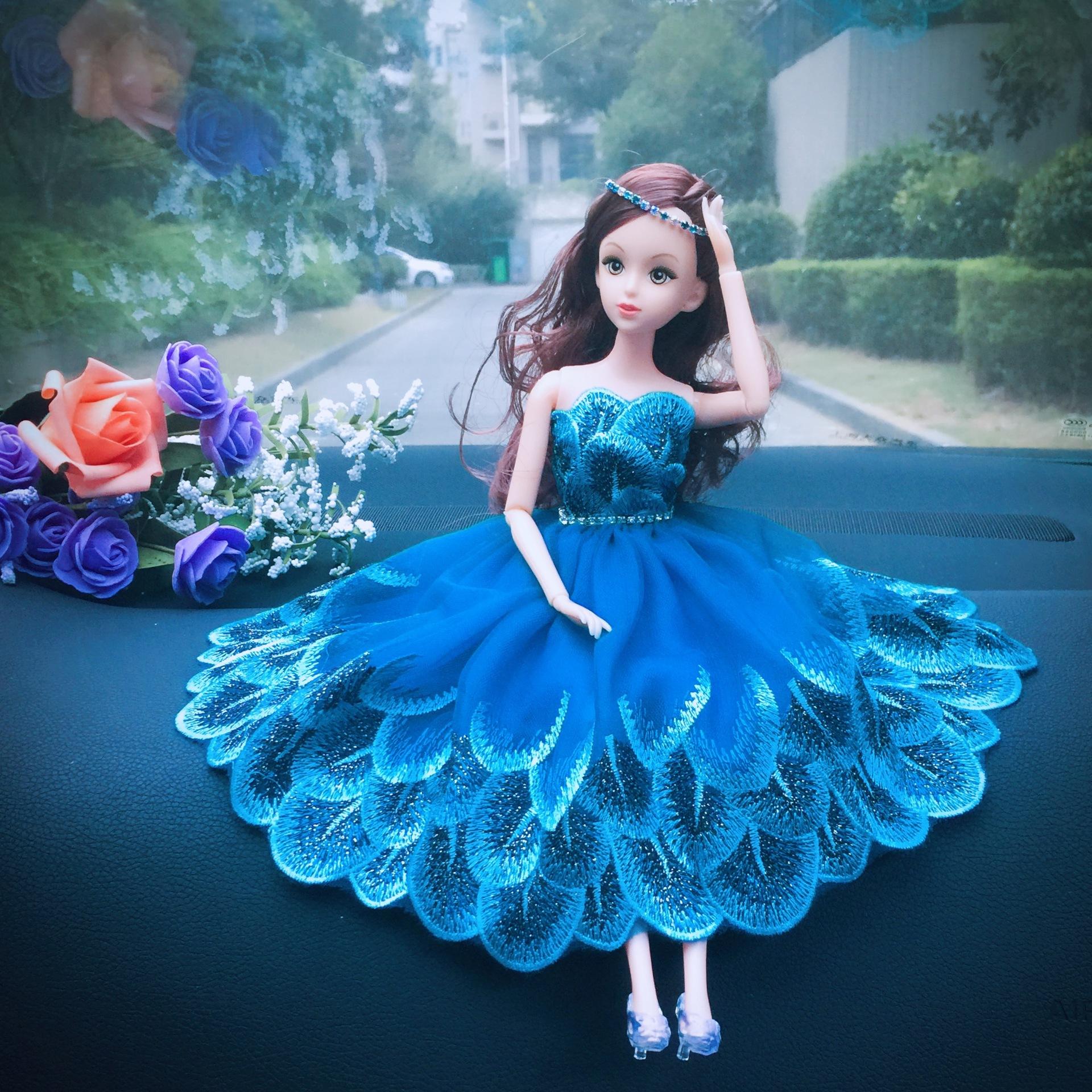 汽车饰品可爱闪镶钻水晶内饰品用品车载拖尾天使芭比娃娃摆件装