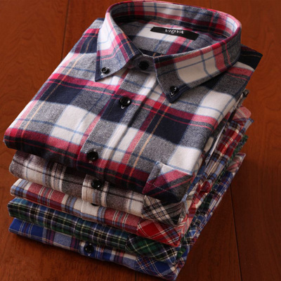 Autumn new men's casual long-sleeved plaid shirt thick cotton Slim youth men's suede shirt