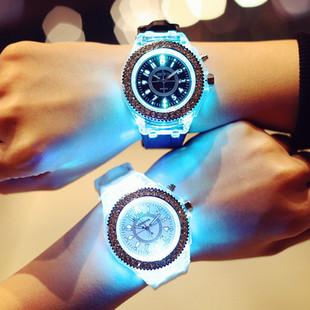 Корея ulzzang серебристые флуоресценция творческий led личность exo тенденция мужской и женщины сырье простой студент наручные часы подруга