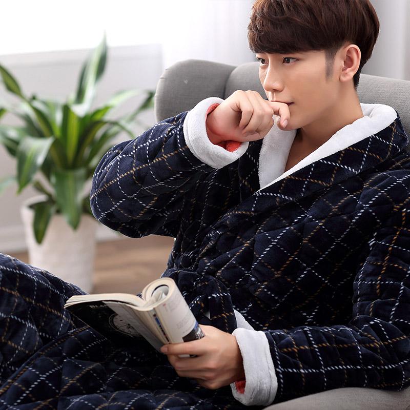 冬季中老年女士长袖睡袍纯棉加厚三层保暖夹棉家居服妈妈睡衣套装