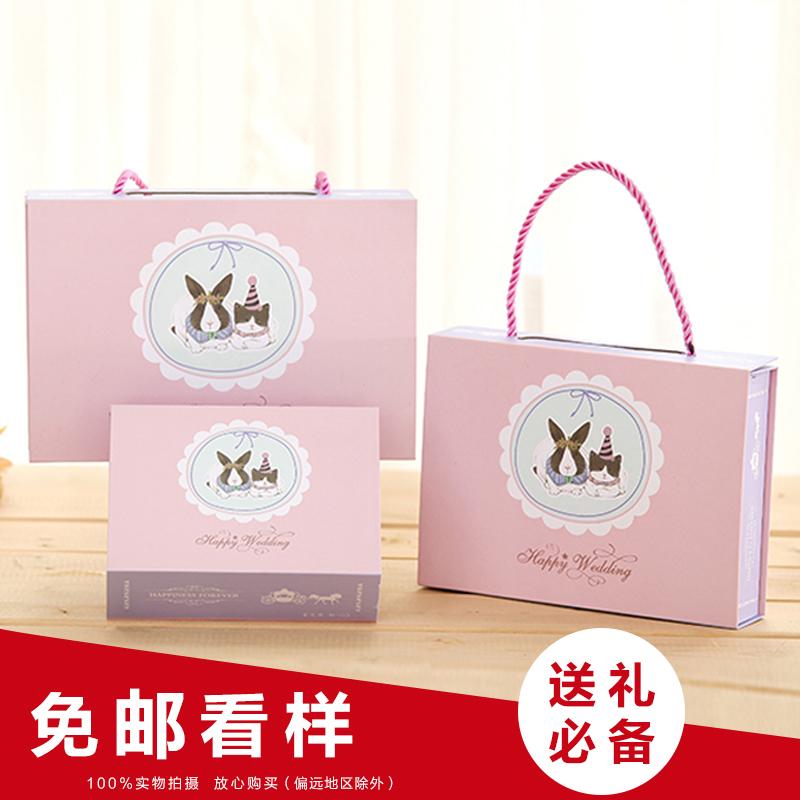 创意结婚中国风烫金圆筒喜糖盒糖袋 大号手提圆桶喜糖盒子批发