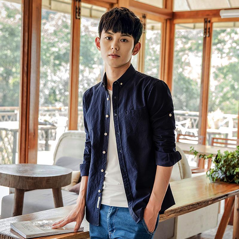 秋季男士休闲薄款纯棉牛津纺纯色打底衬衫男长袖男装韩版白衬衣寸