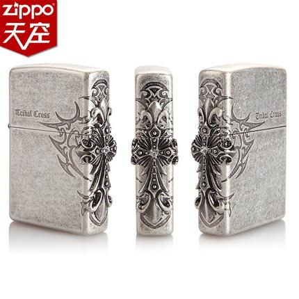 原裝經典ZIPPO打火機 古銀圣天使貼面貼章立體十字架正品ZPPO正版
