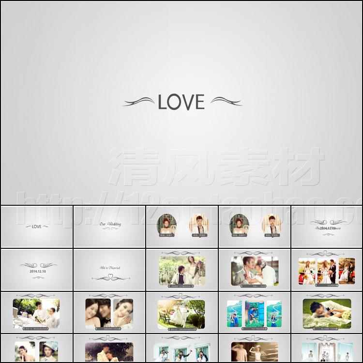 动态唯美浪漫韩式婚礼PPT模板开场片头婚纱照电子相册PPT模版素材