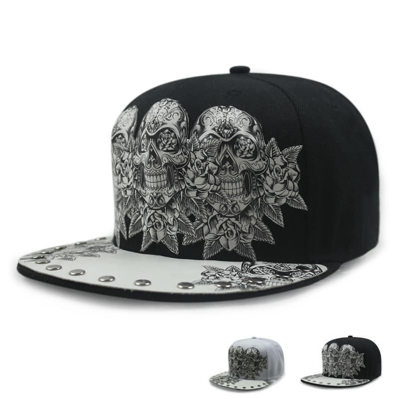 New men and women skull head baseball cap cap sun visor Korean street dance hat  hip 621b20592ee2
