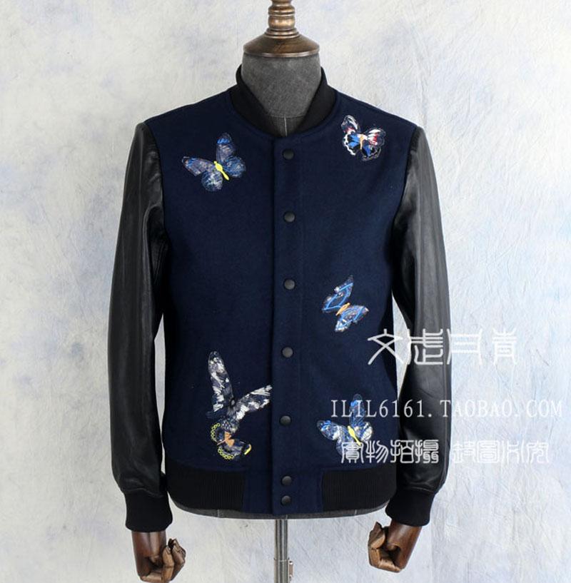 欧洲站秋冬新潮款刺绣蓝色蝴蝶贴片棒球领男士拼接皮夹克加绒外套