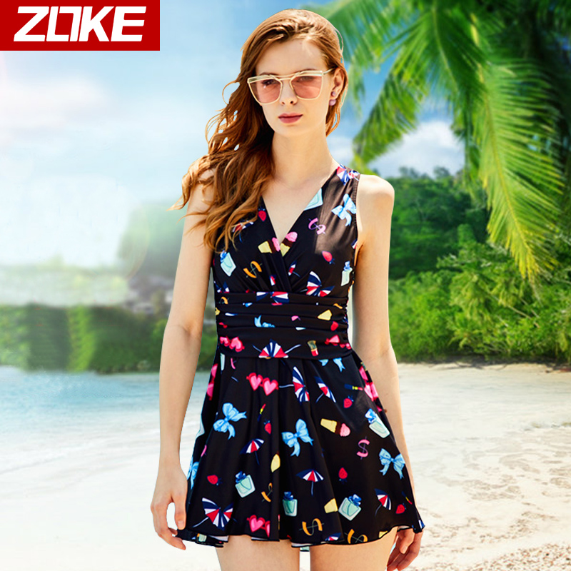 9c258cdb75cfc Chau ke skirt one-piece swimsuit with steel belt chest pad conservative  angle pants high waist cover belly thin ladies swimwear