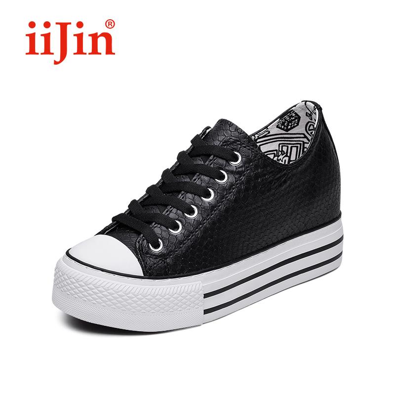 iiJin-艾今官方 新款鱷魚紋休閑鞋小白鞋內增高女鞋夏AF222EM(LL)