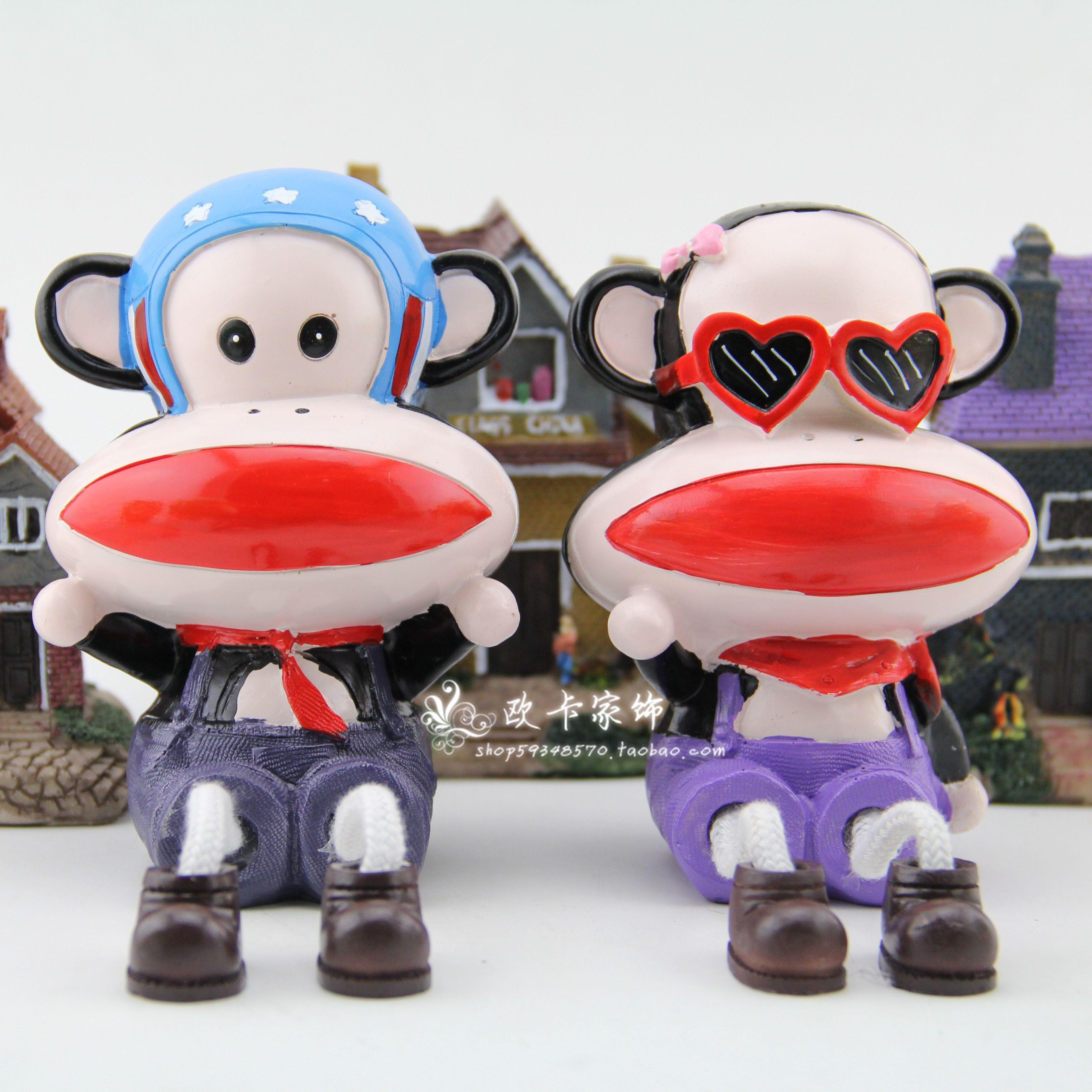 树脂工艺品猴子摆件 家居隔板玄关动物摆饰结婚礼物礼品 吊脚娃娃