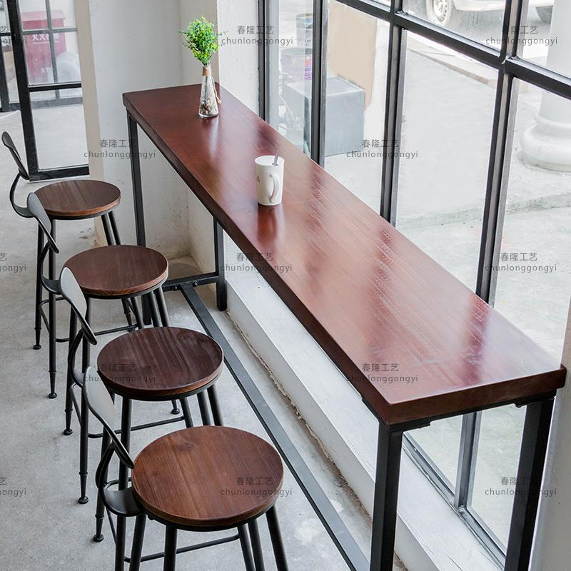 American Casual Coffee Shop Against The Wall Wrought Iron Bar Table Home  Solid Wood Strip Table Starbucks Bar High Table And Chair