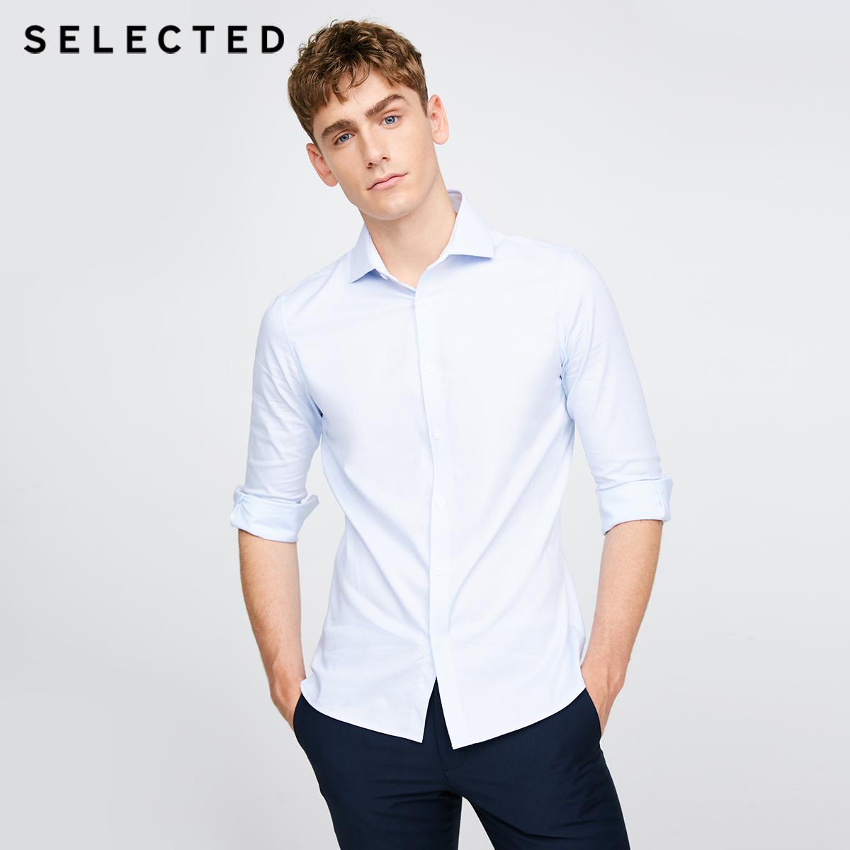 Поли SELECTED Slade мужской содержит хлопок Сводка приталенный Обслуживание предприятий для отдыха длинный рукав сорочка T|417305511