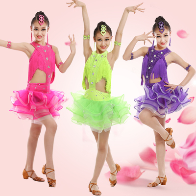 Children's Professional Latin dance performance dress girl bright diamond tassel Latin dance skirt juvenile Latin Costume