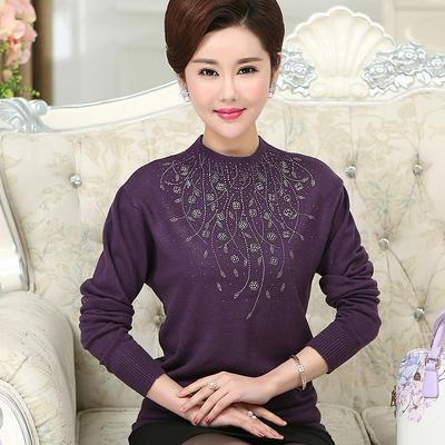 天天特价 中年女长袖打底衫40岁50妈妈装毛衣大码针织衫春秋薄款