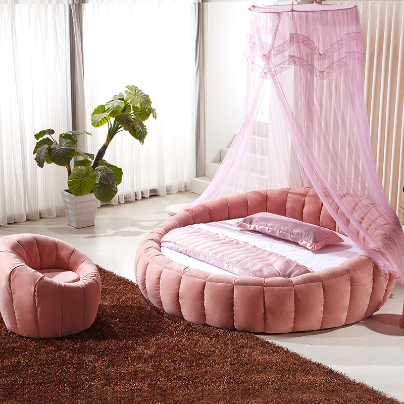 Round bed double bed Princess bed sleek minimalist modern washable cloth  bed pumpkin wedding round bed fabric bed