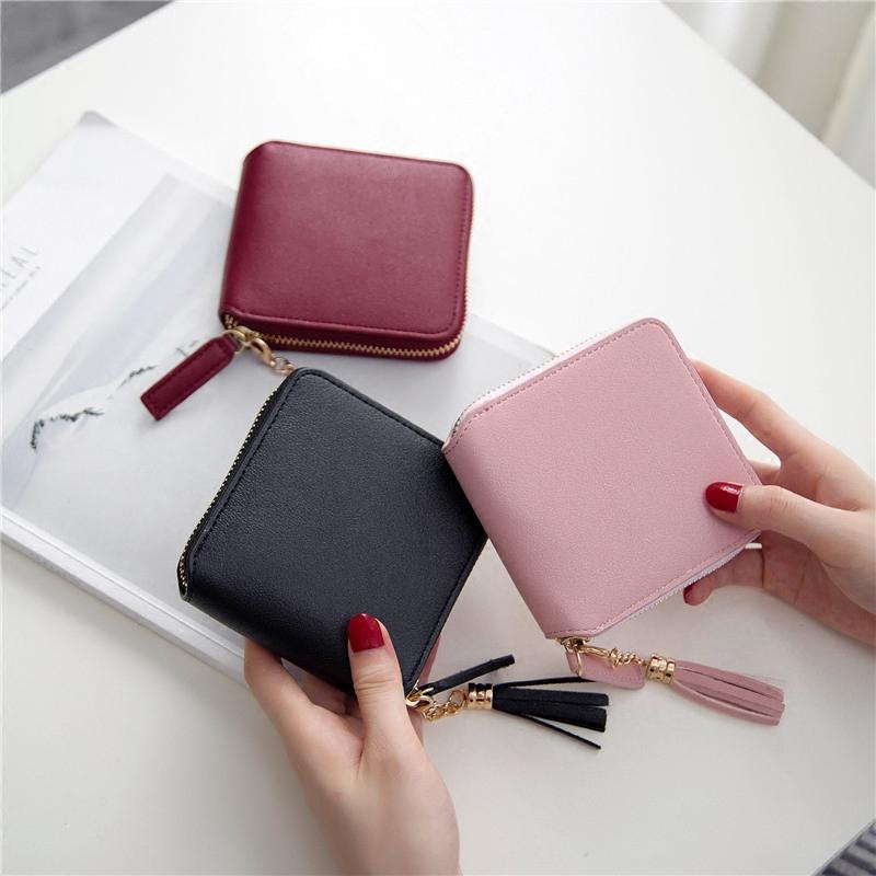 Ví mới dây kéo mini ví ngắn nữ vuông gấp hai đồng xu nhỏ ví đơn giản thời trang ví nhỏ thủy triều - Ví tiền