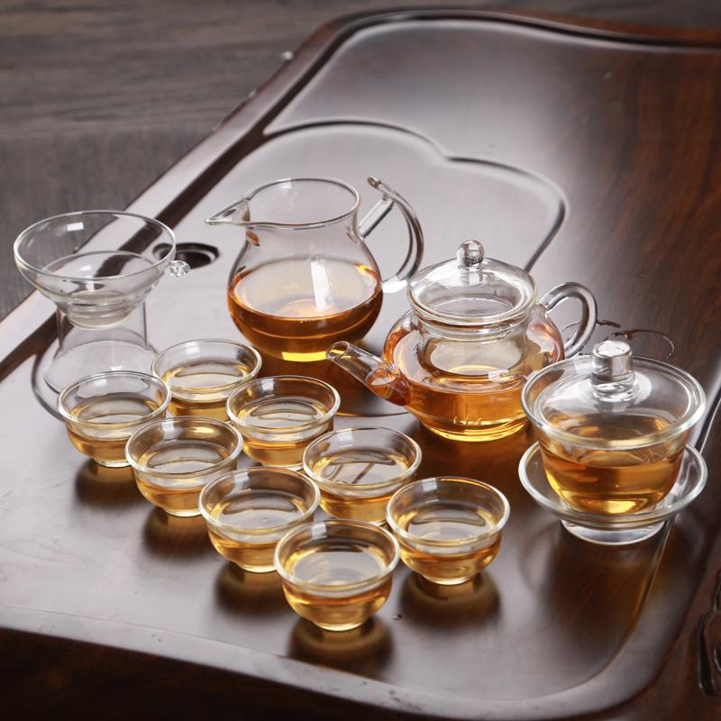 透明玻璃功夫茶具套装家用简约迷你泡茶壶红茶普洱小茶杯茶碗配件