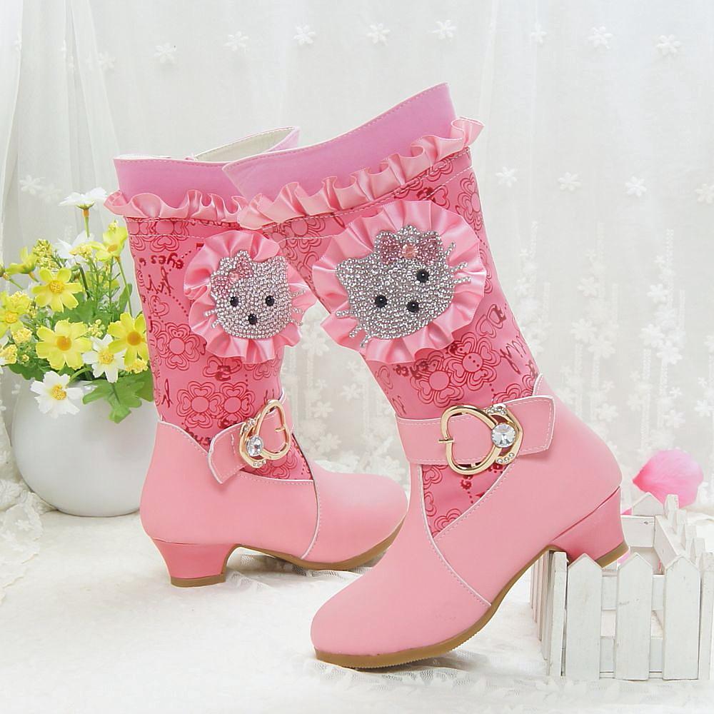 杰西可童鞋2015秋冬季公主高筒 儿童长靴女童靴子侧拉链单靴棉靴
