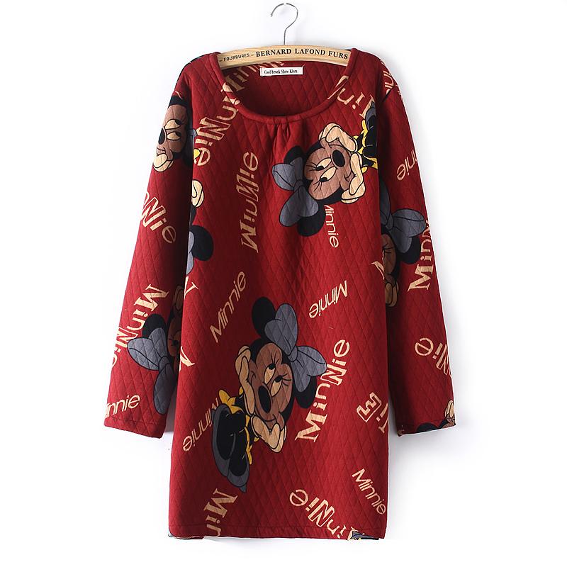 包邮 2015秋冬新款宽松显瘦加厚夹棉圆领套头卫衣女 上衣棉衣外套