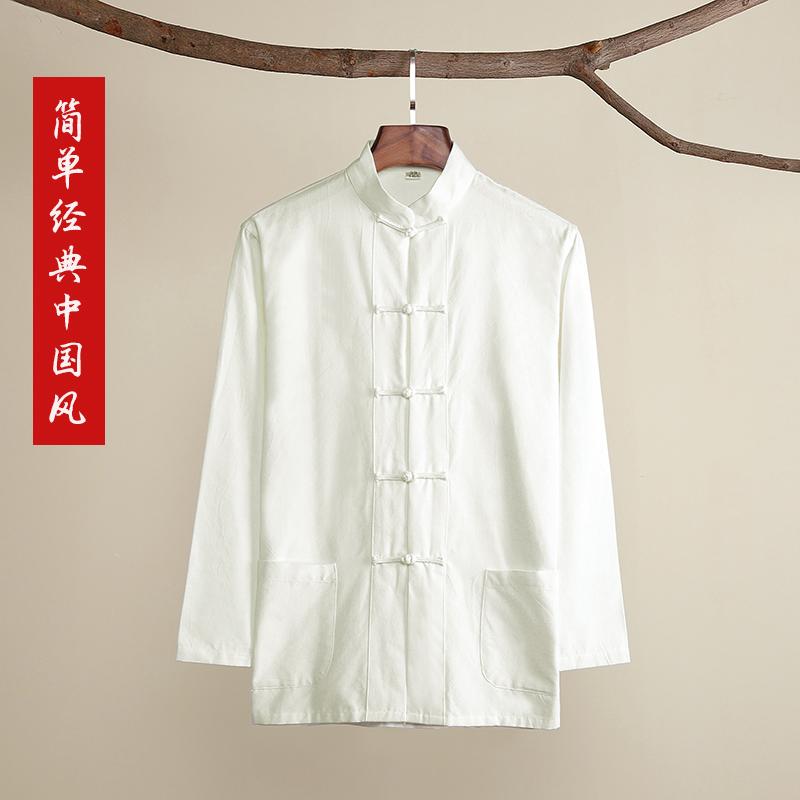 Хлопок старый грубый ткань костюм мужчина весна длинный рукав китайский стиль рубашка рубашка большой двор усилие свитер алтарь ремонт дом такси