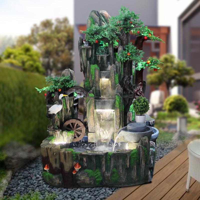 发财树超大型鱼池流水景观喷泉石磨风水轮假山摆件工艺品客厅阳台