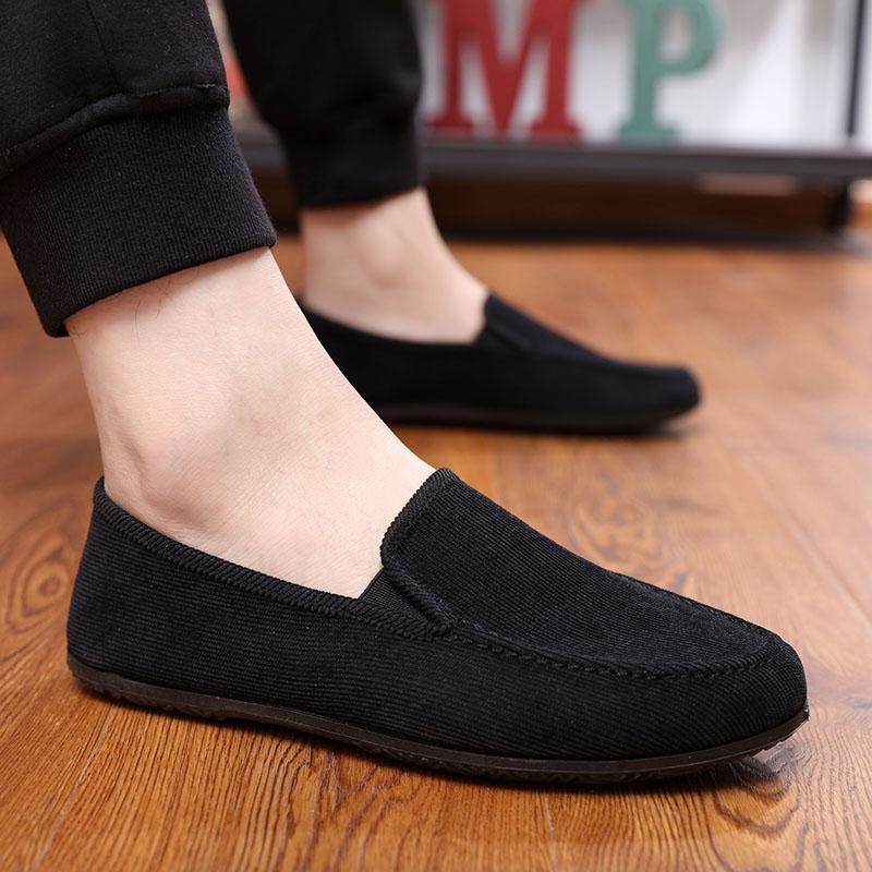Mùa xuân giày thường nam Hàn Quốc phiên bản của giày thủy triều giày vải thoáng khí của nam giới màu đen giày thường của nam giới giày lười peas giày