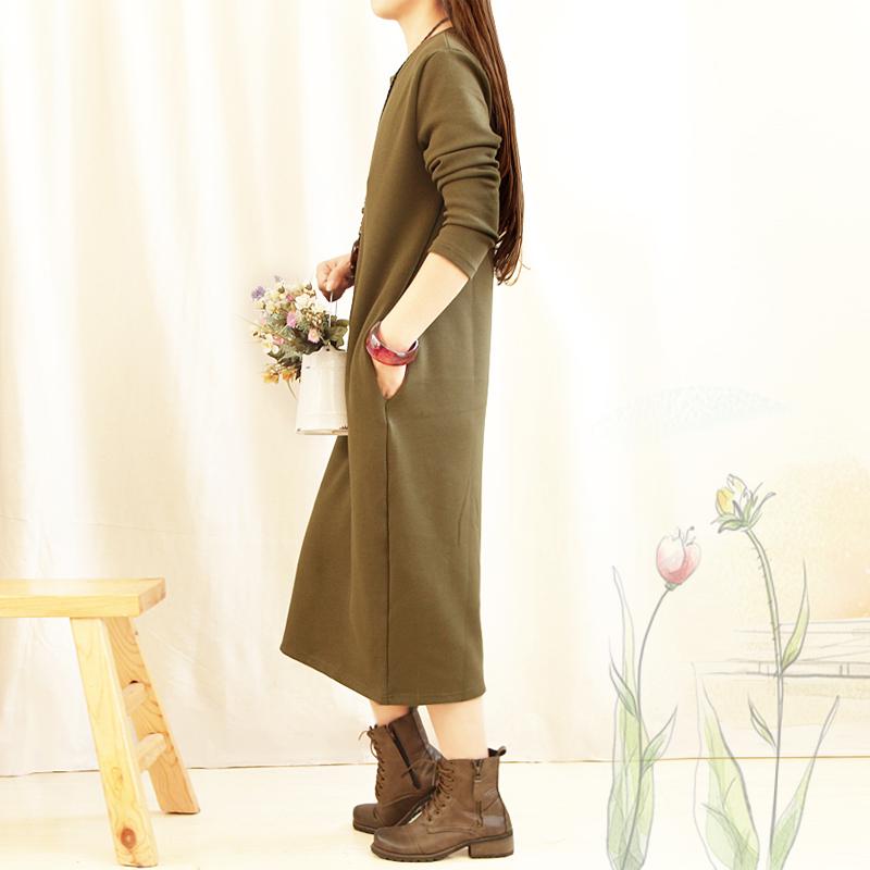 秋冬季加绒加厚圆领长袖打底衫保暖打底裙中长款修身连衣裙女显瘦
