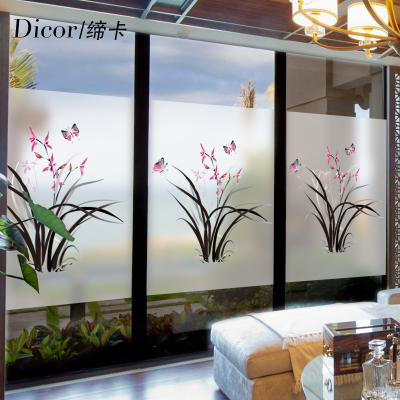 Butterfly flower window stickers glass stickers frosted glass film sliding door balcony light opaque bathroom glass