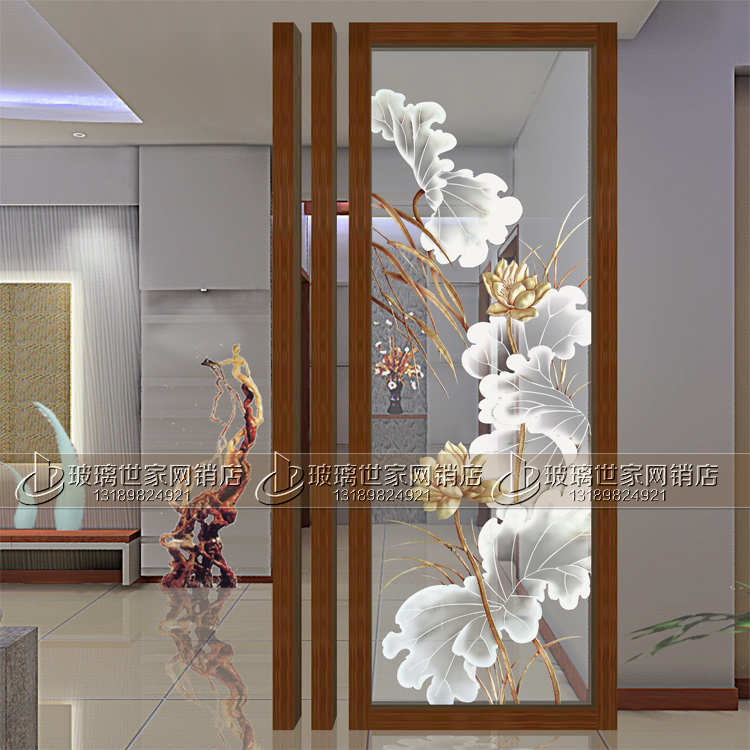 Usd 19968 Art Glass Lotus Screen Partition Carved Tempered Glass