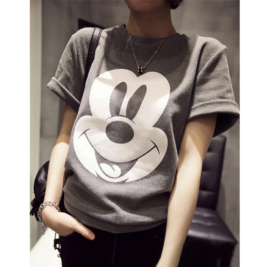 Thickened sanding short-sleeved t-shirt female lovers 2017 autumn and winter loaded cotton letters cartoon large size black shirt