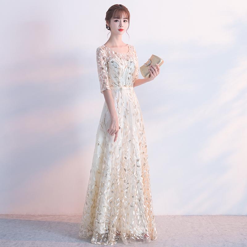 晚礼服裙2018新款宴会长款香槟色伴娘服显瘦端庄大气一字肩主持女