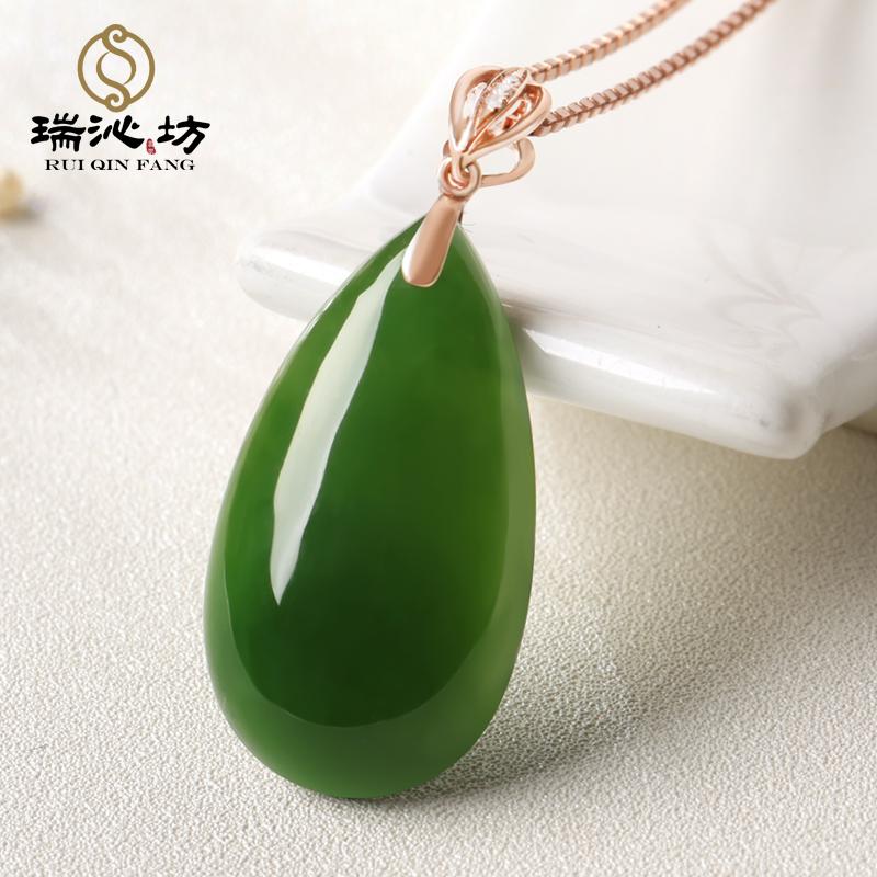 新疆和田玉碧玉项链 圆珠时尚菠菜绿项链塔珠女款吊坠限时特价