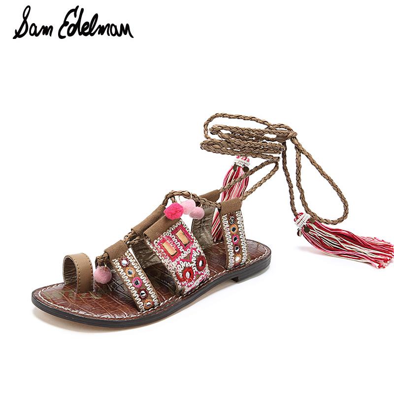SamEdelman新品拼色绑带夹脚平底女凉鞋GRETCHE C0407