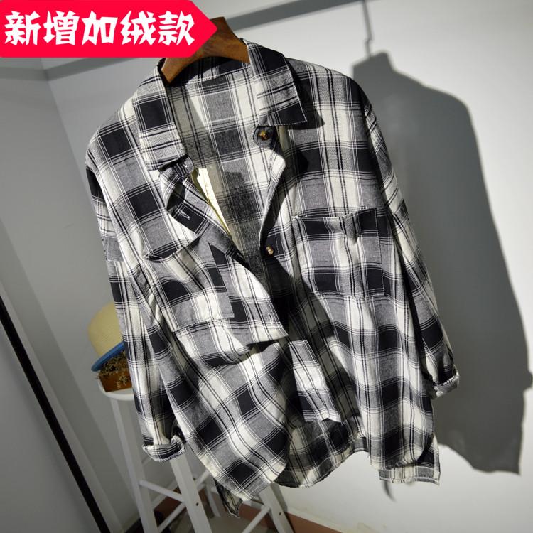 2015保暖休闲白衬衫女长袖冬韩版宽松加厚中长款加绒打底纯棉衬衣