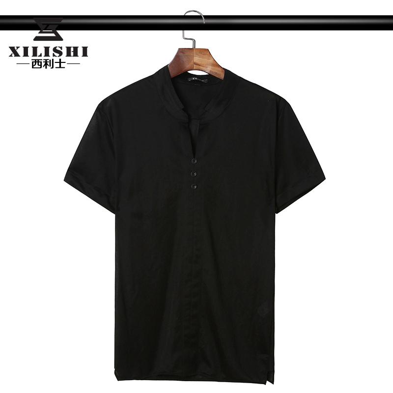 男士短袖T恤2019新款潮流夏季中国风中式立领休闲简约半袖冰丝T恤