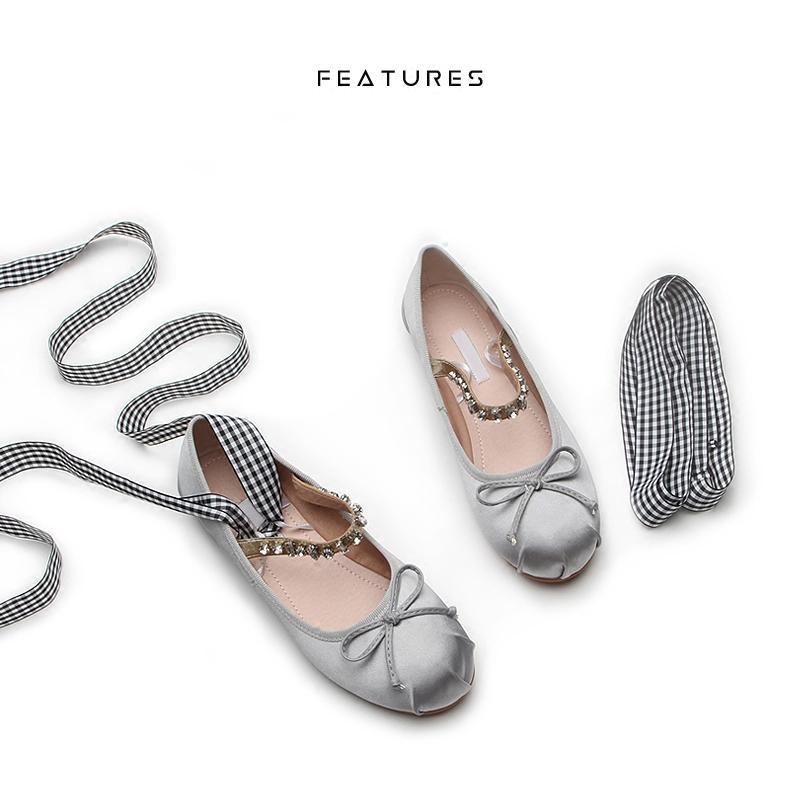 Features新款水钻舞鞋面蝴蝶结绑带单鞋女绸缎圆头一字带平底芭蕾