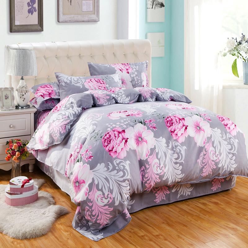 纯棉加厚床单式简约四件套全棉1.5/1.8m2米床被套枕套学生三件套