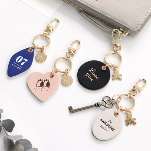 Korean authentic iconic cute fashion creative leather keychain chain metal  key ring bag pendant accessories 83036371c111