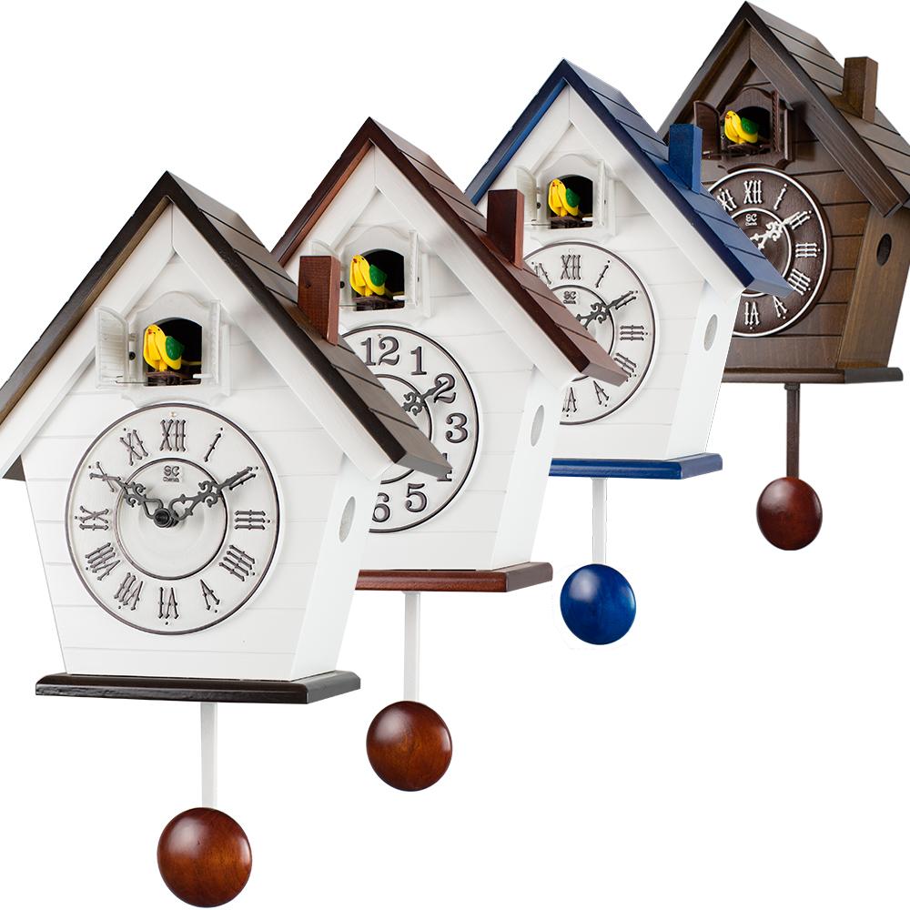 Saint Gabriel Cuckoo Clock Bird Timekeeping Past Mediterranean Wall Simple White Red Blue