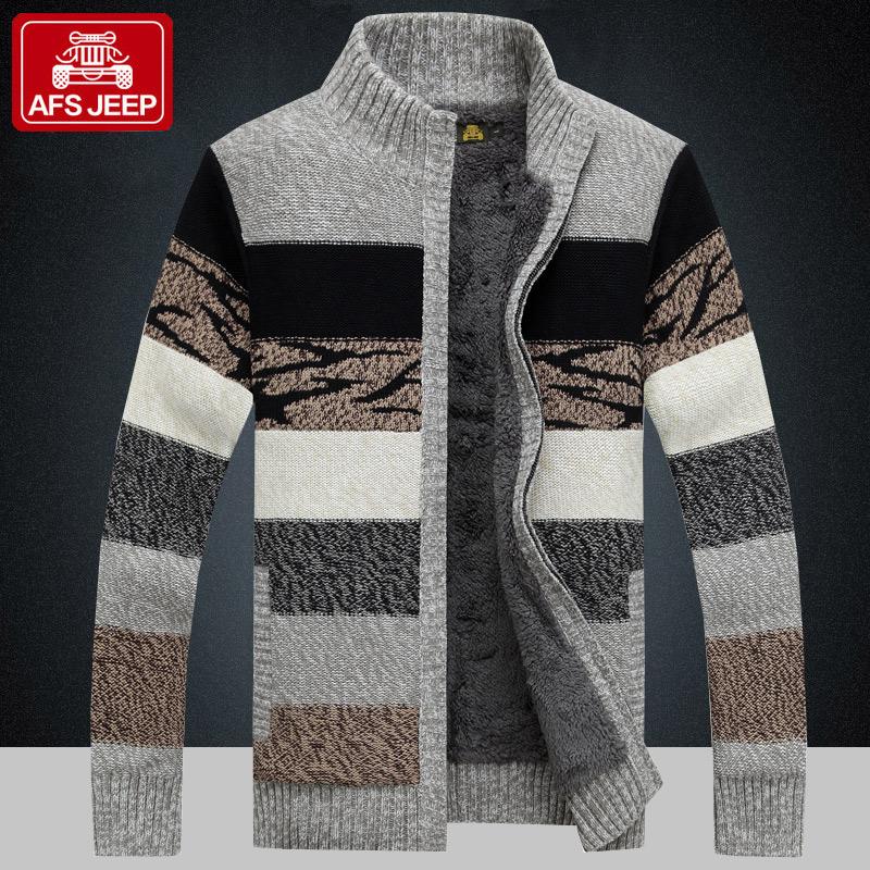 战地吉普加绒针织开衫毛衣男士外套冬季厚款保暖线衣立领休闲夹克