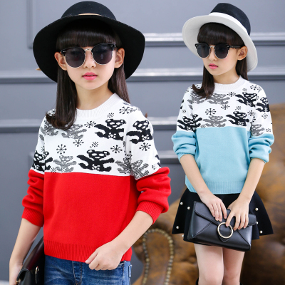 Girls sweater hedging 2017 new autumn and winter children's knit bottoming shirt baby children's clothing jacket winter thickened