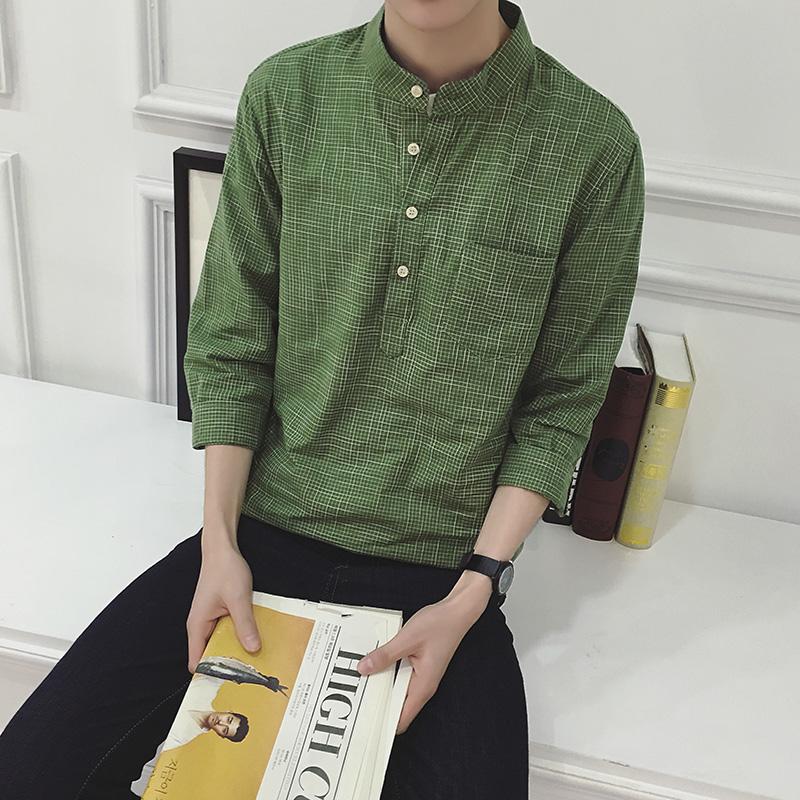 包邮夏季日系小清新男士英文中袖衬衣 林弯弯花花修身七分袖衬衫