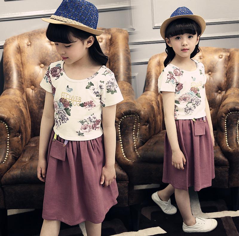 童装女童裙子夏2016新款儿童中大童牛仔碎花连衣裙韩版儿童公主裙