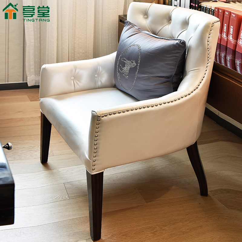 SGD. Modern simple white leather chairs solid wood sofa