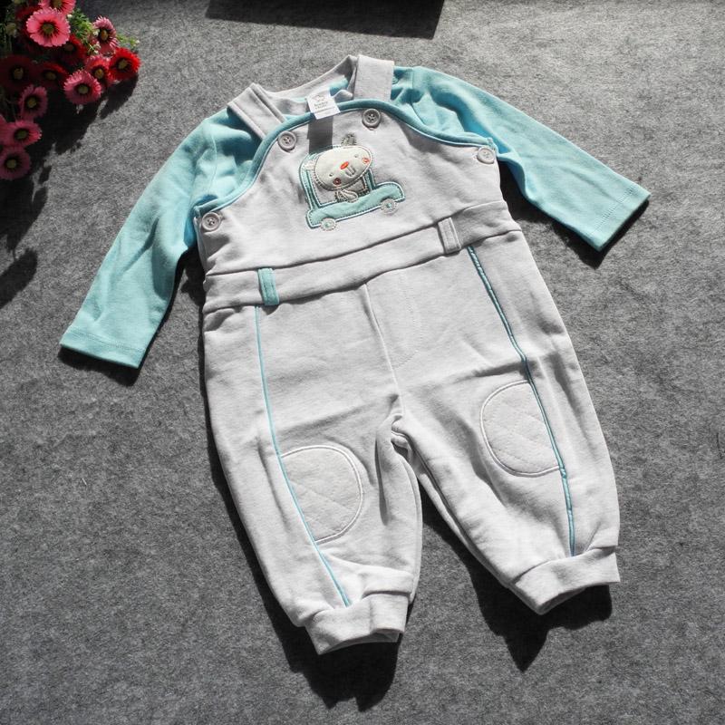 婴儿双层背带裤套装男女宝宝纯棉连体衣服9春装外出服0-1岁3个月6