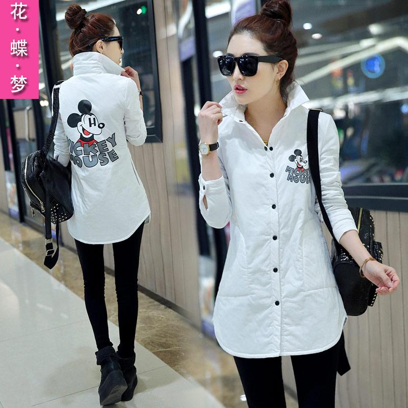 韩版女衫春新款蕾丝镂空雪纺衬衫中长款宽松长袖娃娃领白色打底衫