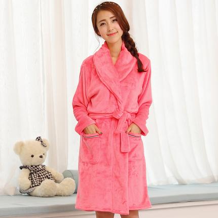 相依依可爱法兰绒睡袍连体睡衣秋冬季女士睡裙浴袍珊瑚绒家居服