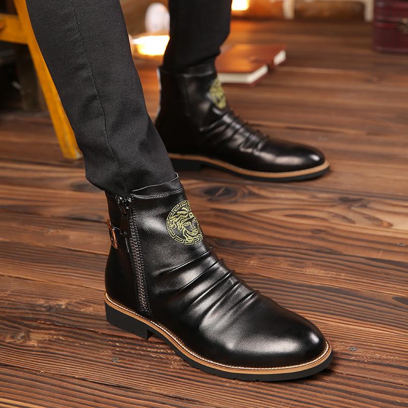 秋季白色英伦马丁靴真皮男靴子个性迷彩底加绒高帮皮鞋男士潮短靴