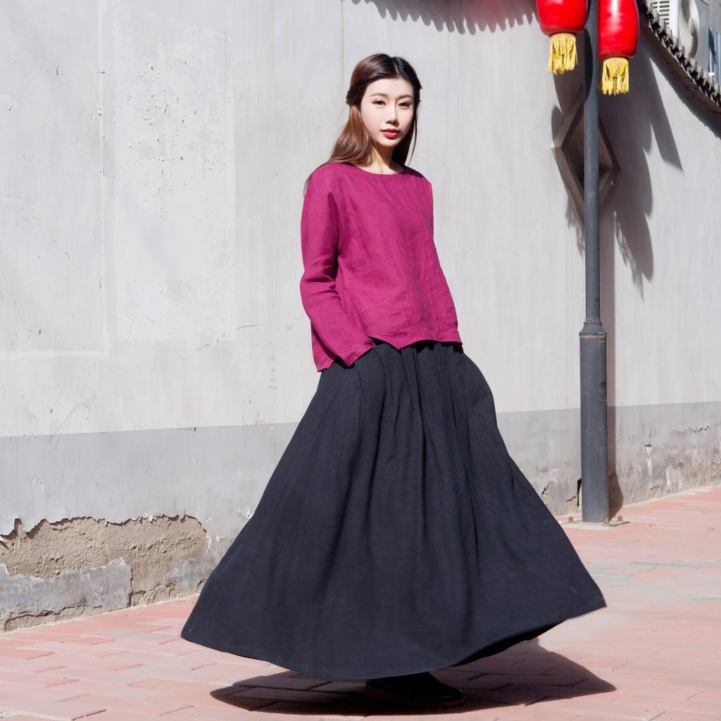 中国风女装 民族风秋冬新款 绣花裙 棉麻 大摆半身裙女长裙大摆裙